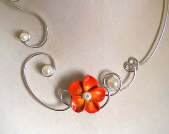 Wire wrapped necklace, Open collar necklace, Collier ouvert, Flower necklace, Wedding necklace,  Bridesmaid, Orange jewelry, Collier orange