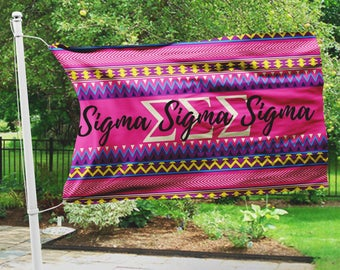 Sigma Sigma Sigma flag, Hot pink Aztec print, 3 x 5 feet Polyester mesh, Customizable Sorority gift, TriSig letters dorm decor