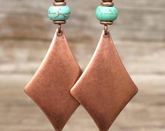 Boho Earrings Dangle Earrings Drop Earrings Bohemian Earrings Boho Jewelry Copper Earrings Copper Jewelry Geometric Earrings