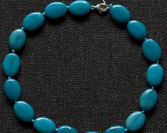 Women's Necklace Stone Aquamarine Necklace Natural Semi-Precious Stone Necklace for Women