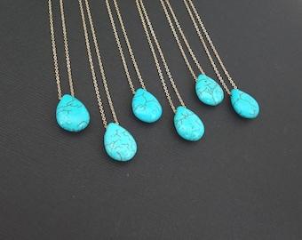 Turquoise necklace, teardrop pendant, bridesmaid necklace, December Birthstone, Sagittarius jewelry, Zodiac jewelry, Boho beach wedding