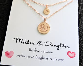 Dandelion Necklace Mother Daughter Necklace Make a Wish Necklace Mother Daughter Gift Mommy and Me mother daughter gift Rose Gold Necklace