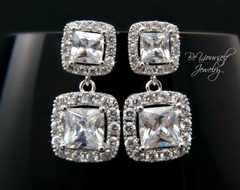 White Crystal Bridal Earrings Square Bride Earring Cubic Zirconia Wedding Jewelry Cushion Cut Bridesmaid Gift Sterling Silver Bridal Jewelry