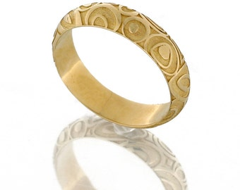 Stacking wedding band for women, Slim gold wedding band, couples ring, pattern textured wedding rings, Petite Wedding Band, Dainty Gold Ring