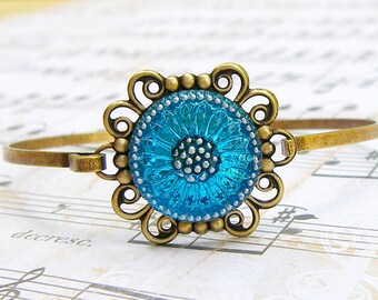 Aqua Blue Sunflower  - glass button bangle bracelet, up-cycled jewelry, repurposed jewelry