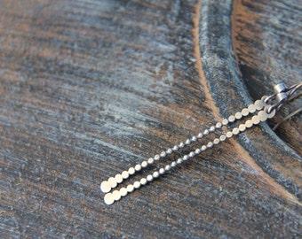 Long beaded sterling silver bar earrings, long, slim dangle earrings, stick earrings, minimalist, simple,dots earrings, thin bar earrings