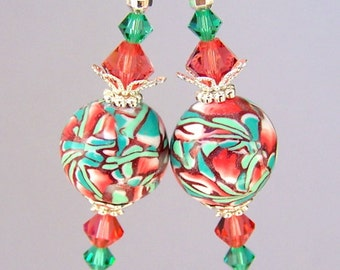 Green and coral earrings, polymer clay, Swarovski crystal Padparadscha and Light Emerald Green, orange pink and green, Spring fashion