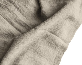 Softened natural flax grey linen fabric, wide stone washed heavy linen fabric, authentic soft linen, eco friendly linen, DIY projects