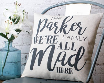 Personalised 'We're All Mad Here' Pillow Cover