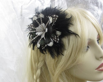 Black and White Feather Flower Headband, Feather Headband, Feather Flower Fascinator, Black and White Feather Flower
