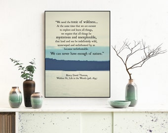 Henry David Thoreau Art Quote Print, Tonic of Wildness, Thoreau Quote, Walden Quote, Book Page Art Print, Literary Art Print, Large Wall Art