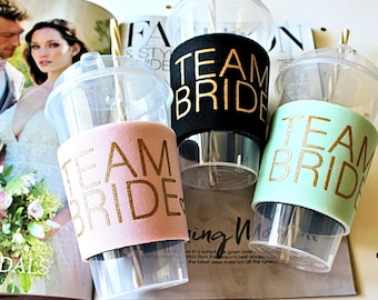 Team Bride, Bachelorette Party Cup with matching Bride, Bachelorette Favors, Bridesmaid party cup,  Bridal shower cup, Frosted party cup