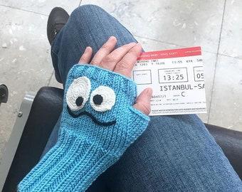 Knit Fingerless Gloves, Boys Girls Birtday Gift, Arm Warmers, Winter Wool Gloves, Knitted Mittens, Blue Crazy Hand Glove, Face Mittens