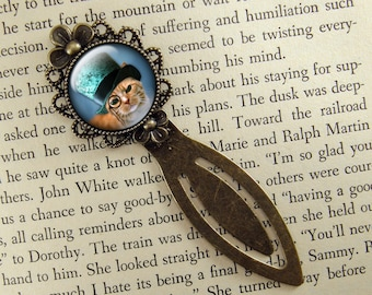 Steampunk Cat Bookmark, Gift for Cat Lover, Blue,  Book Mark, Bronze Clip Bookmark, Antiqued, Book Lover, Book Accessories, Ready Ship