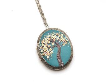 Sakura-necklace Tree-Of-Life necklace pendant Cherry blossom necklace Tree-Of-Life jewelry Floral pendant necklace Nature necklace Gift