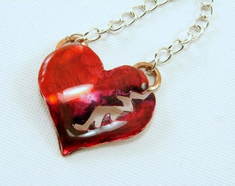 Red Resin Broken Heart Pendant Necklace