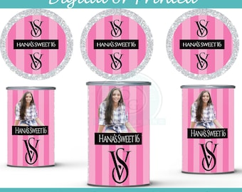 Victorias Secret Pringles Can labels- drink labels-digital- you print - Party Favors