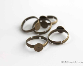 Adjustable Ring Blanks 8mm Pad Bronze Tone Pack of 5 (FIN222)