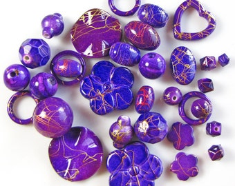 Colorful purple assorted shapes, acrylic beads, 2oz., 70-90 pieces