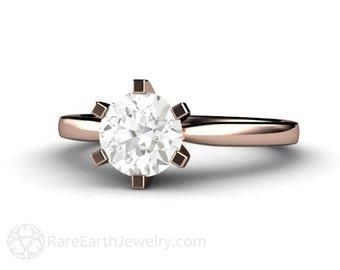 6 Prong Solitaire Moissanite Engagement Ring Forever Brilliant Moissanite Ring 14K White Yellow Rose Gold Conflict Free Diamond Alternative