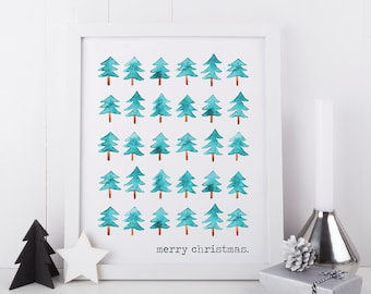 Merry Christmas Art, Christmas Tree Art, Printable Holiday Art, Christmas Printable, Holiday Home Decor