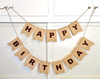 Happy Birthday Banner, Burlap, Choose Felt Letter Color, Custom Birthday Sign, Party Decoration, Bunting, Sign for Birthday Party