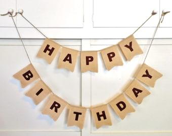 Banderole joyeux anniversaire, toile de jute, choisissez la lettre feutre couleur, signe d'anniversaire personnalisée, décoration de fête, nid d'ange, signe pour fête d'anniversaire