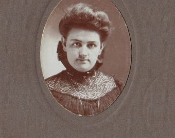Original Vintage Small Mounted Photograph of Woman 1890s-1900s