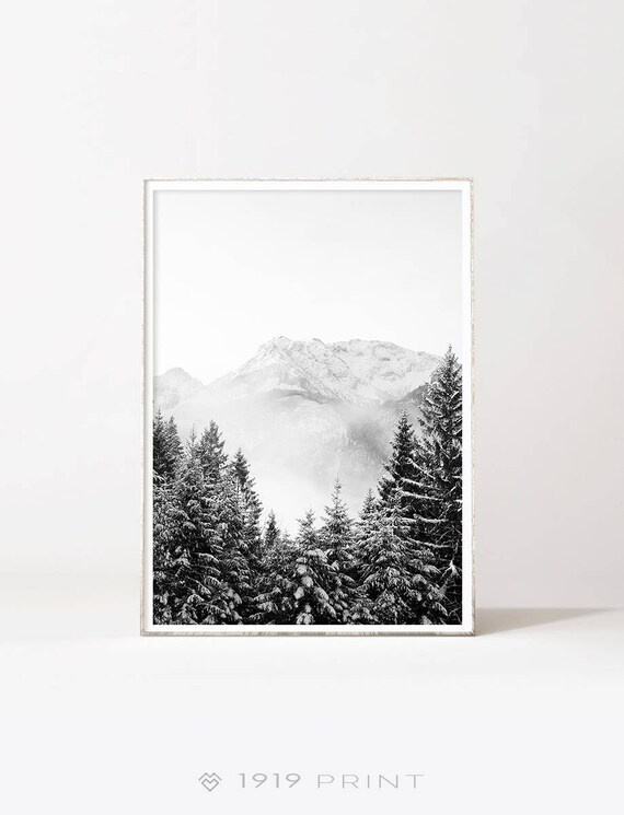 Black and white mountain poster art instant download modern