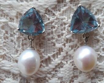 Trillion cut aquamarine gems with pearls