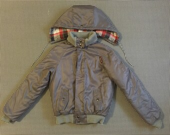 1980's, quilted, hooded, jacket, in silvery gray, by Jordache, Boys size 16, Women's size Small