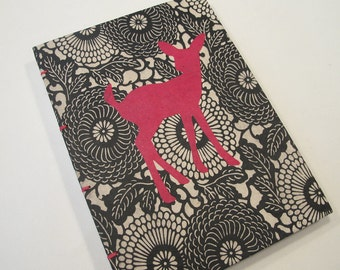 Deer Journal Notebook Coptic Bound: Pink and Black Handmade Book Hardbound