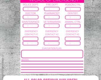 Printable In Case of Emergency Worksheet, Emergency Info, Family Safety