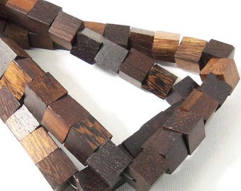 Robles Wood Bead, 12mm, Cube, Straight Edge, Square, Natural Wood Beads, Large, 16 Inch Strand - ID 2301