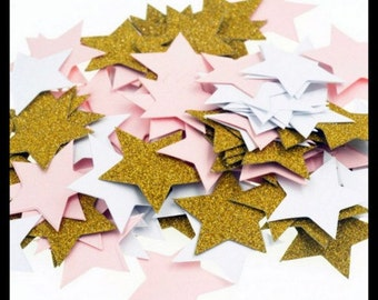 Gold, Pink & White Stars Table Confetti Pack of 100 Pieces