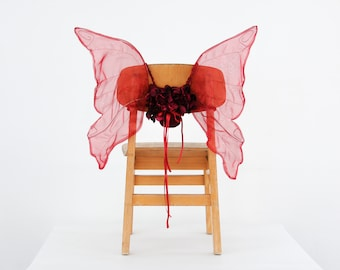 Burgundy Red Fairy Wings, Pixie Wings, Butterfly Wings with flowers