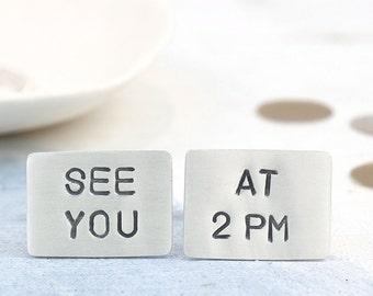 Groom cufflinks   Wedding cufflinks   Custom cufflinks   Meet me at cufflink   Personalise cufflink   Groom gift from bride   hidden message