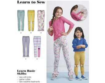 GIRLS LEGGINGS PATTERN! Two Styles / Learn to Sew Pattern - Easy / Size 3 to 6 Or 7 to 14