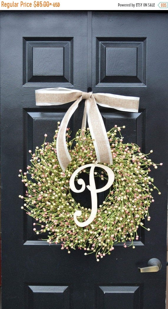SUMMER WREATH SALE Ready to Ship Spring Berry Wreath, Spring Decor, Spring Wreath, Easter Wreath Decor, Year Round Wreath, Pink, Green, Cre