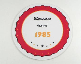 humorous gift woman coaster round coaster personalized drinker since 1985