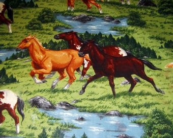 """Vintage Cotton Material of wild Horses playing  42"""" W V 54"""" L"""