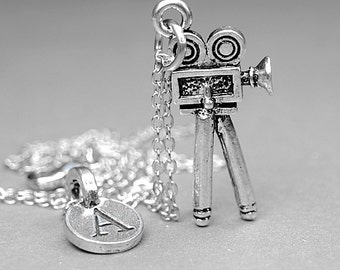 Movie Camera Necklace, Film charm, silver plated pewter, initial necklace, initial hand stamped, personalized, monogram