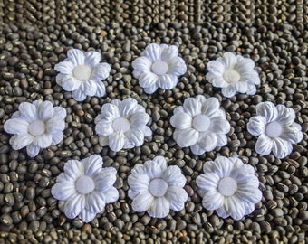 Small White Layered Fabric Flowers with 12 Petals