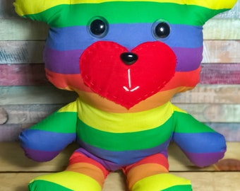 Nerdibears Handmade Handsewn  Rainbow Pride Teddy Bear Stuffed Animal Toy