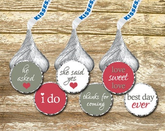 Custom Hershey Kiss Stickers - Wedding Kisses, Wedding Stickers, Pink Grey Wedding, Pink White Wedding, Wedding Favor, Bridal Shower Favor