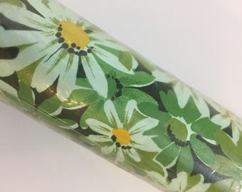 Vintage 1970s Shelf Liner Green Mod Flowers Kitchen Bathroom Decor Deadstock NIP