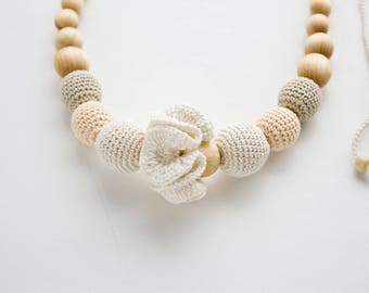 White Flower Nursing Necklace for breastfeeding mom to wear - juniper wood - N011