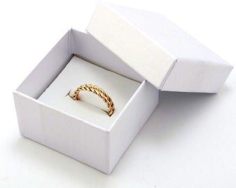 wedding  bands twist, Stacking  Ring 14k  Solid Gold For Women, Hand Made, Set Of 2 Ring 14K Gold ,Anniversary Gift