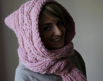 Hooded Scarf. Long Scarf. Wool Scarf. Chunky Scarf. Scoodie Scarf. Wool pink Scarf. pink hooded scarf. knit scoodie scarf. Millennial pink