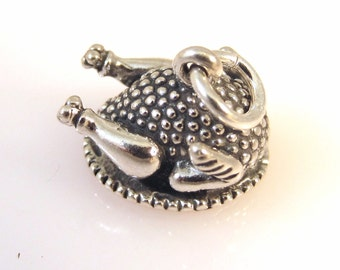 Sterling Silver 3-D TURKEY DINNER on a platter Charm Pendant Thanksgiving Roasted Chicken Plate Food Kitchen .925 Sterling Silver New kt56